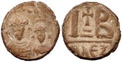 Ancient Coins - Heraclius, with Heraclius Constantine 610-641 A.D. 12 Nummi Alexandria Mint Good VF