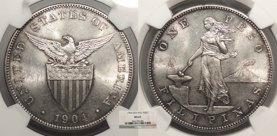 World Coins - PHILIPPINES 1904 Peso NGC MS-63