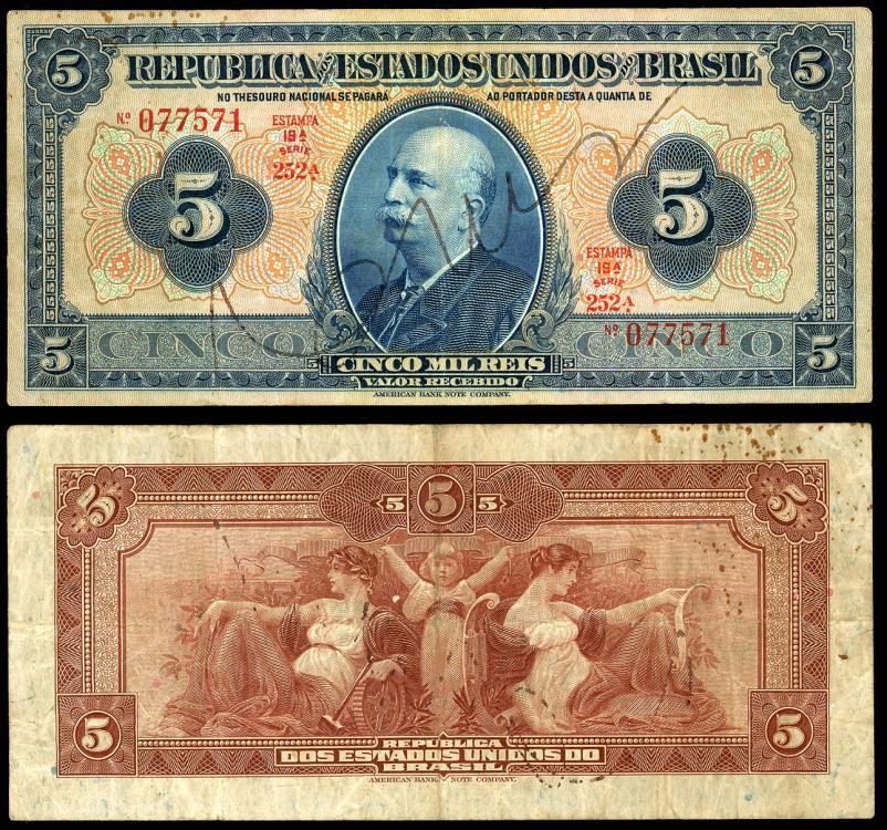 World Coins - BRAZIL Thesouro Nacional ND (1925) 5000 Reis VF