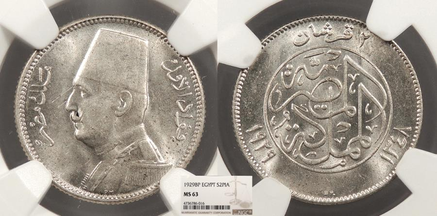 World Coins - EGYPT Fuad I 1929 / AH 1348 2 Piastres NGC MS-63
