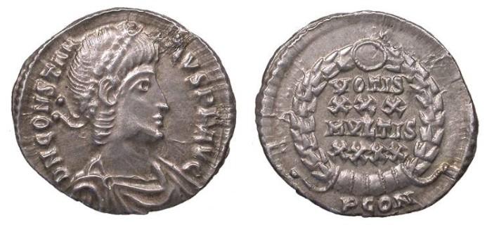 Ancient Coins - Constantius II 337-361 A.D. Siliqua Arles Mint EF