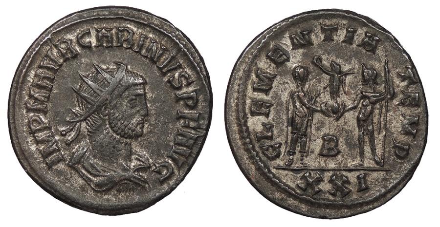Ancient Coins - Carinus 283-285 A.D. Antoninianus Cyzicus Mint Good VF