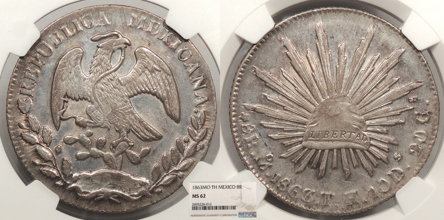 World Coins - MEXICO 1863-Mo TH 8 Reales NGC MS-62