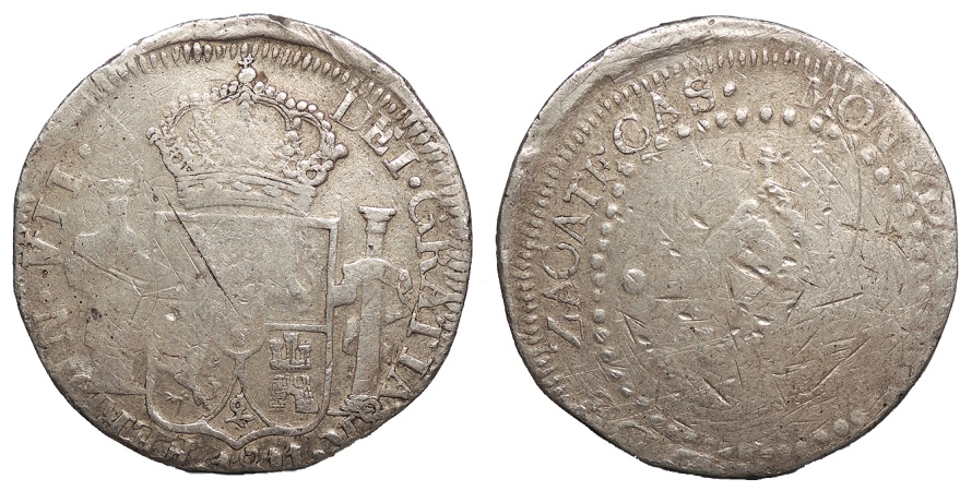 World Coins - MEXICO Zacatecas Loyalists for Ferdinand VII 1811 8 Reales VF