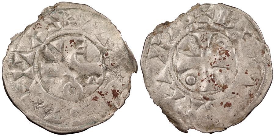 World Coins - FRANCE Thibaut II, the Great 1125-1152 Denier EF