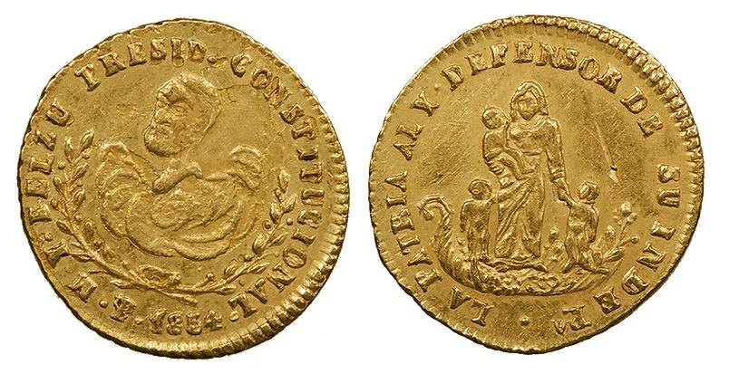 World Coins - BOLIVIA President Belzu 1854 Proclamation 1/2 Escudo AU/UNC