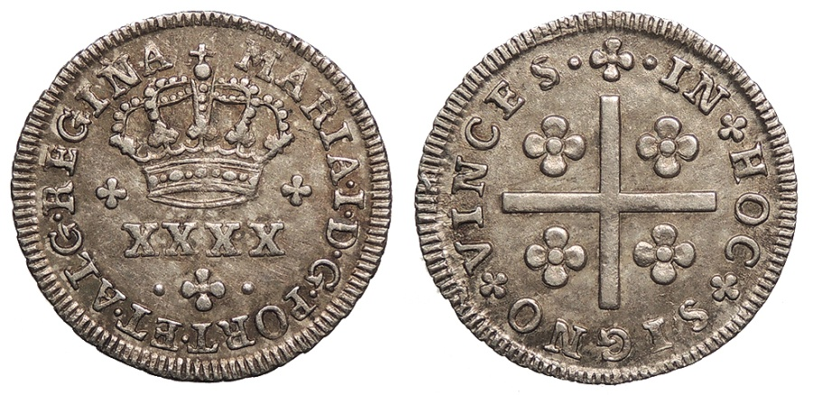 World Coins - PORTUGAL D. Maria I 'a Piedosa' ND (1786) 40 Reis (Meio Tostao = 50 Reis) AU/UNC