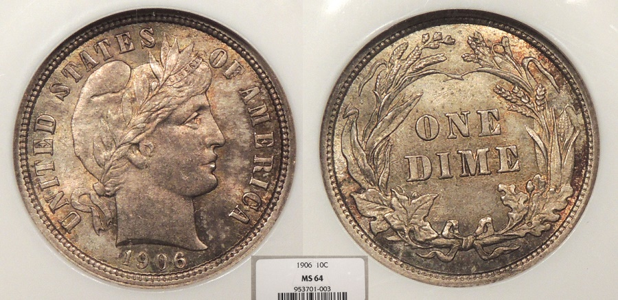 US Coins - 1906 Barber 10 Cents (Dime) NGC MS-64