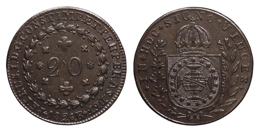 World Coins - BRAZIL Pedro I 1826-R 20 Reis AU/UNC