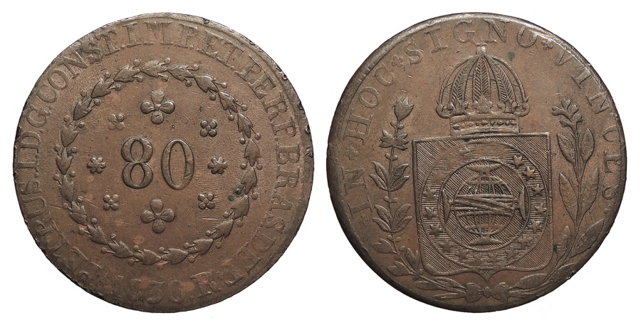 World Coins - BRAZIL Pedro I 1830-R 80 Reis AU