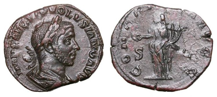 Ancient Coins - Volusian 251-253 A.D. Sestertius Rome Mint Near EF