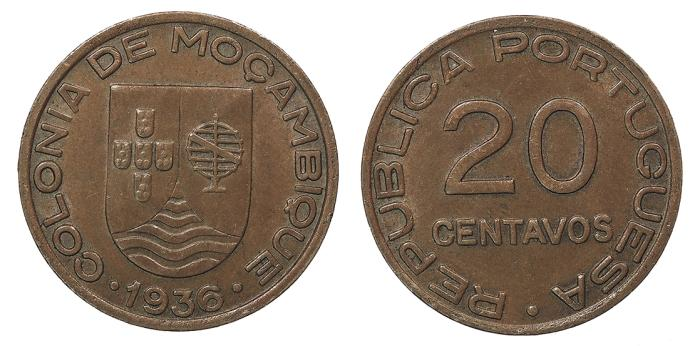World Coins - MOZAMBIQUE 1936 20 Centavos Choice AU