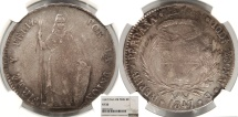 World Coins - PERU 1847-LIMAE MB 8 Reales NGC VF-35