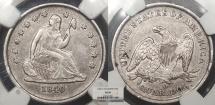 Us Coins - 1840 O Seated Liberty 25 Cents (Quarter) No Drapery NGC AU-50
