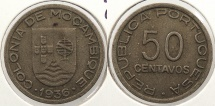 World Coins - MOZAMBIQUE: 1936 50 Centavos