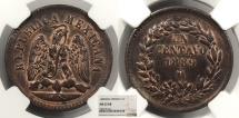 World Coins - MEXICO 1889-Mo Centavo NGC MS-63 RB