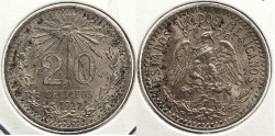 World Coins - MEXICO: 1927-Mo 20 Centavos