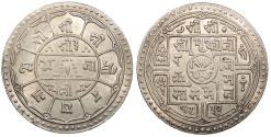 World Coins - NEPAL Prithvi Bir Bikram SE 1832 (1910) 2 Mohars AU/UNC