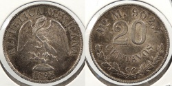 World Coins - MEXICO: 1898-Mo M 20 Centavos