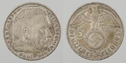 World Coins - GERMANY: 1937-A Hindenburg. 5 Mark