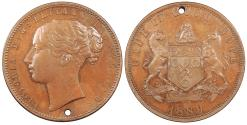 World Coins - SOUTH AFRICA Cape of Good Hope Victoria 1889 Pattern Penny AU/UNC