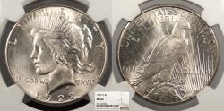 Us Coins - 1922 S Peace 1 Dollar (Silver) NGC MS-64