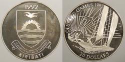 World Coins - KIRIBATI: 1992 20 Dollars Proof
