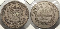 World Coins - COSTA RICA: 1886 25 Centavos