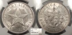 World Coins - CUBA 1933 Peso NGC MS-61