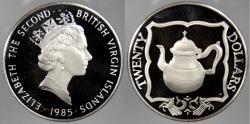 World Coins - BRITISH VIRGIN ISLANDS: 1985 Teapot. 20 Dollars Proof
