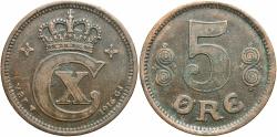 World Coins - DENMARK: 1916 5 Ore