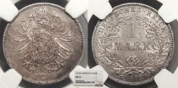 World Coins - GERMANY Wilhelm I 1873-B Mark NGC MS-61