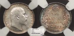 World Coins - INDIA Edward VII 1908 2 Annas NGC MS-62
