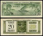 World Coins - NEW CALEDONIA Banque de l'Indochine - Nouméa ND (1944) 20 Francs VF+