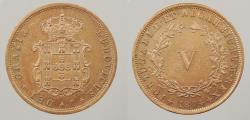 World Coins - PORTUGAL: 1874 5 Reis
