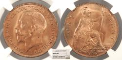World Coins - GREAT BRITAIN George V 1916 Penny NGC MS-65 RB