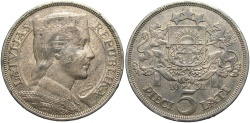 World Coins - LATVIA: 1932 5 Lati