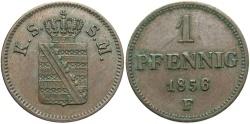 World Coins - GERMAN STATES: Saxony 1856-F 1 Pfennig
