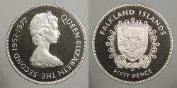World Coins - FALKLAND ISLANDS: 1977 25th Anv. Of Accession 50 Pence Proof