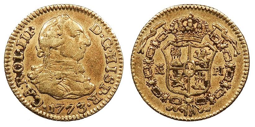 World Coins - SPAIN Carlos (Charles) III 1773-M PJ 1/2 Escudo Good VF