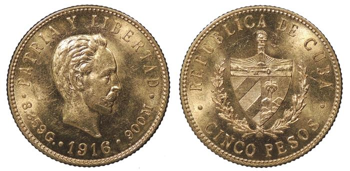 World Coins - 1916 5 Pesos BU