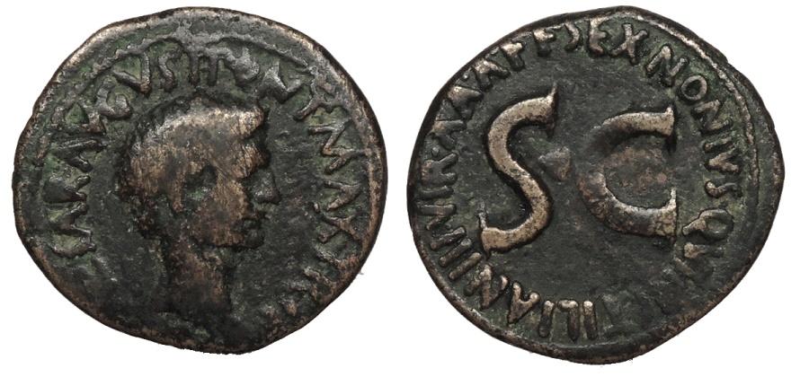 Ancient Coins - Augustus 27 B.C. - 14 A.D. As Rome Mint Good Fine