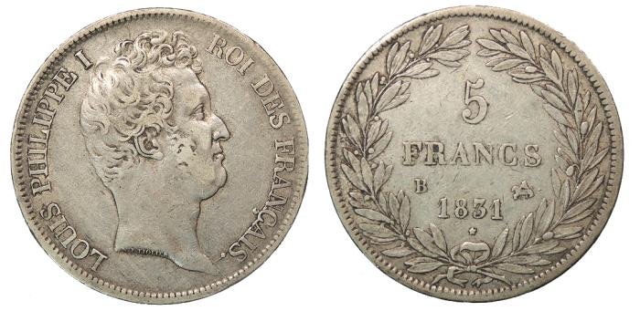 World Coins - FRANCE Louis Philippe I 1831-B 5 Francs VF