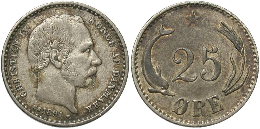 World Coins - DENMARK: 1891 25 Ore