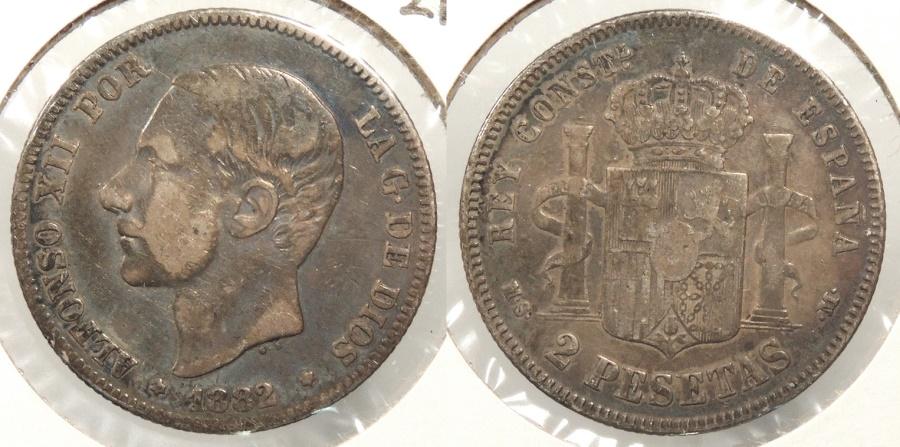 World Coins - SPAIN: 1882-MS M 2 Pesetas