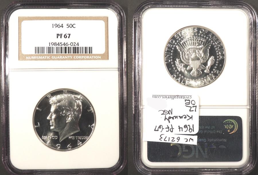 US Coins - 1964 Kennedy 50 Cents (Half Dollar) NGC PF-67
