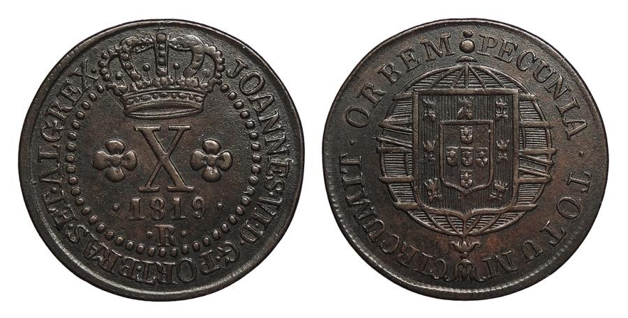 World Coins - BRAZIL Joao VI 1819-R 10 Reis Choice AU