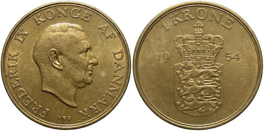 World Coins - DENMARK: 1954 1 Krone
