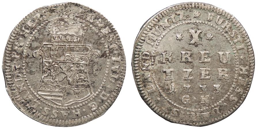 World Coins - GERMAN STATES Hesse-Darmstadt Ernst Ludwig 1733-GK 10 Kreuzer UNC