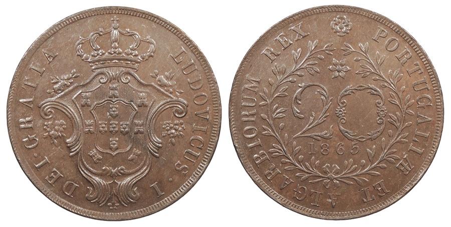 World Coins - AZORES Luiz I 1865 20 Reis AU/UNC